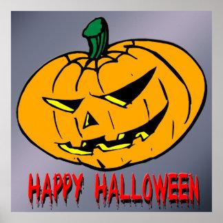Poster asustadizo de Halloween de la calabaza