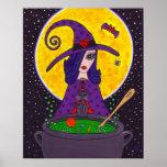 Poster atractivo de Halloween de la bruja