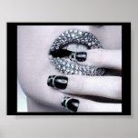 Poster atractivo de los labios del diamante artifi