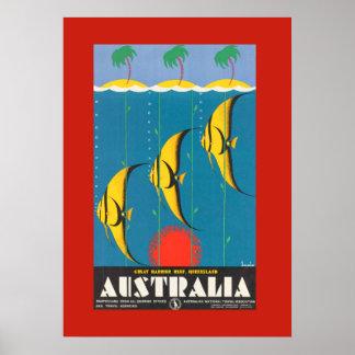 Poster australiano colorido del viaje de los pesca