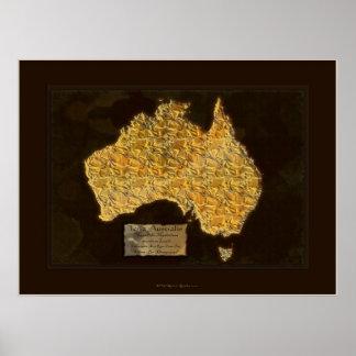 Poster AUSTRALIS del arte del mapa de la TIERRA