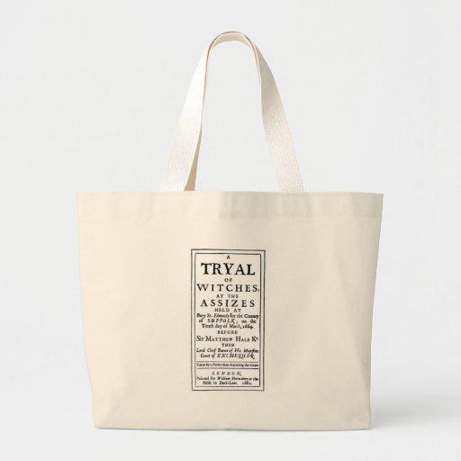 Poster auténtico de los ensayos de la bruja bolsa lienzo