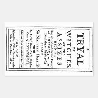 Poster auténtico de los ensayos de la bruja pegatina rectangular