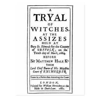 Poster auténtico de los ensayos de la bruja tarjeta postal