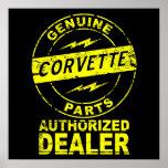 Poster auténtico del Corvette de las piezas