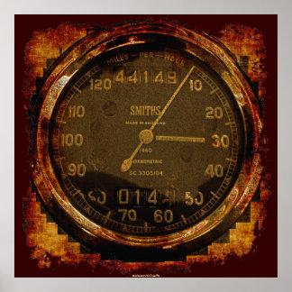Poster auto del arte del velocímetro antiguo del G