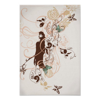 Poster aux. de los papillons del femme del La
