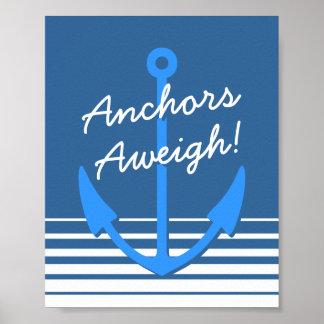 Poster aweigh de las anclas náuticas de la decorac