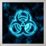 Poster Azul-Blanco del símbolo del Biohazard del r