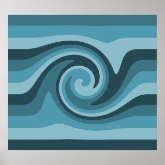 Poster azul bonito del remolino póster