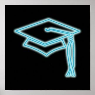Poster azul claro del casquillo de neón del gradua