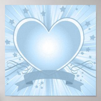 Poster azul claro del diseño del corazón
