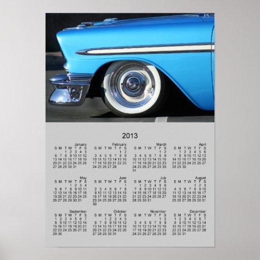 Poster azul clásico del calendario del coche 2013