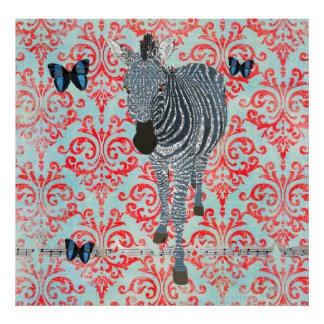 Poster azul de la cebra de Boho y del damasco de l