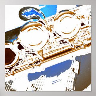 poster azul de la flauta