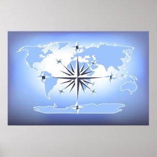 Poster azul de la impresión del mapa del mundo del