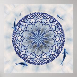 Poster azul de la mandala de Koi Lotus