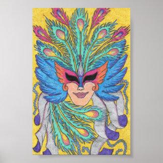 Poster azul de la máscara del carnaval del ala póster