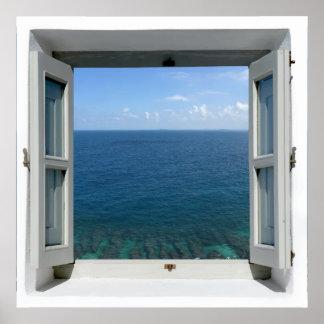 Poster azul de la opinión del mar del océano de la
