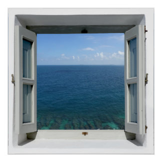 Poster azul de la opinión del mar del océano de la póster