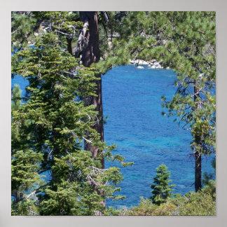 Poster azul de la pared del lago Tahoe Forest Gree