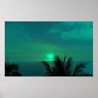 Poster azul de la puesta del sol de Hawaii