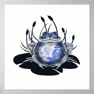 Poster azul de la rana de Bull del sauce
