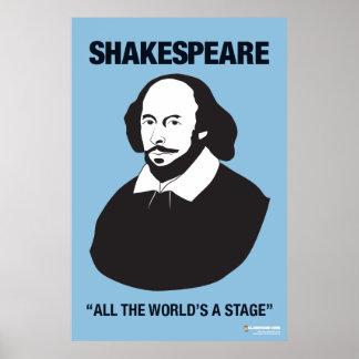 Poster azul de la sala de clase de Shakespeare Póster