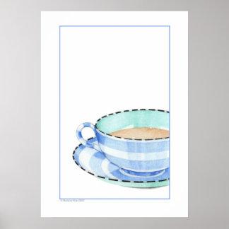 Poster azul de la taza de té póster