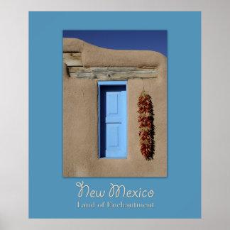 Poster azul de la ventana de New México