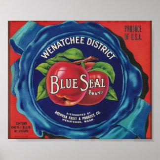 poster azul de las manzanas del sello