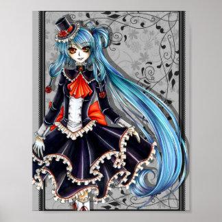 Poster azul de Lolita del pelo