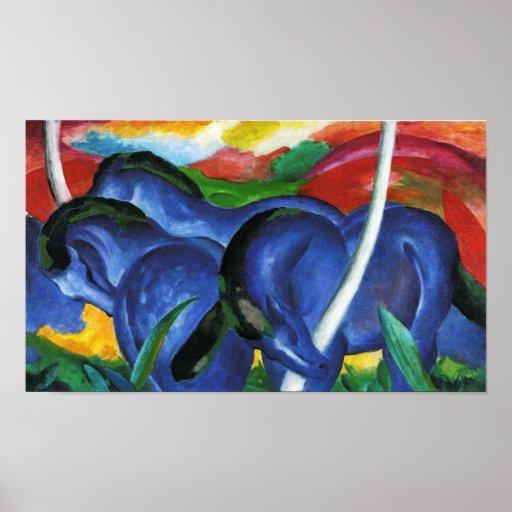 Poster azul de los caballos de Franz Marc