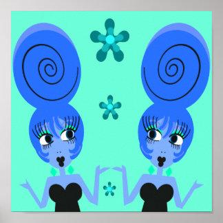 Poster azul de los chicas del arte pop