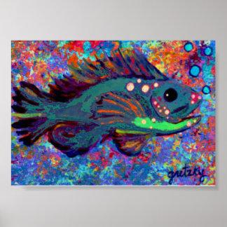Poster azul de los pescados