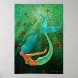 Poster azul del arte de la fantasía de la sirena d