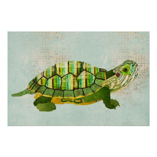 Poster azul del arte de la tortuga del jade