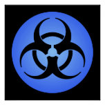 Poster azul del Biohazard
