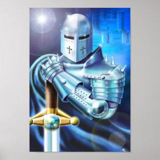 Poster azul del caballero