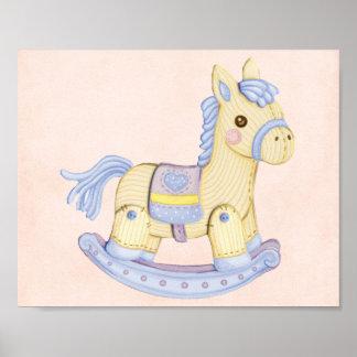 Poster azul del caballo mecedora