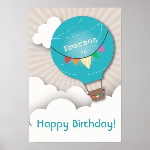 Poster azul del cumpleaños del globo del aire cali