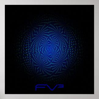 Poster azul del ³ de FluffyVision con los puntos c