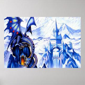 Poster azul del dragón de la fantasía