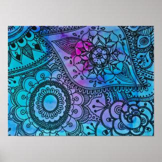 Poster azul del modelo del Hippie por Megaflora