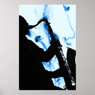 Poster azul del saxofón