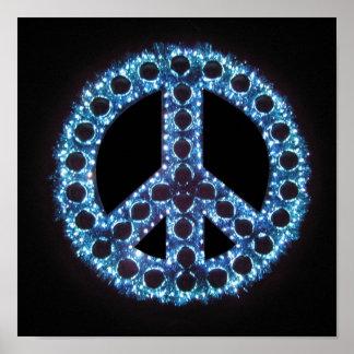 poster azul del signo de la paz