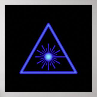 Poster azul del símbolo del laser