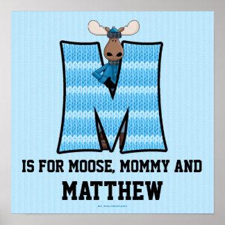 "Poster azul del sitio del bebé del monograma ""M"" d"