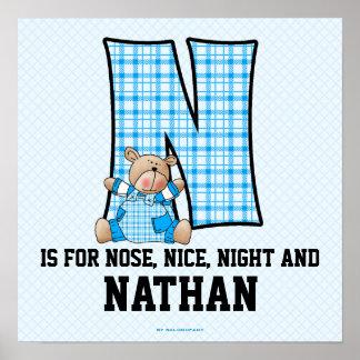 """Poster azul del sitio del bebé del monograma """"N"""" d"""
