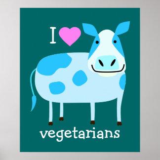 Poster azul del vegetariano de la vaca